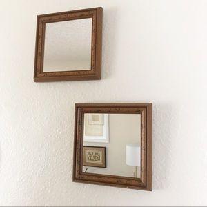 Wall Art - Vintage Wood Mirror Set (2) Boho